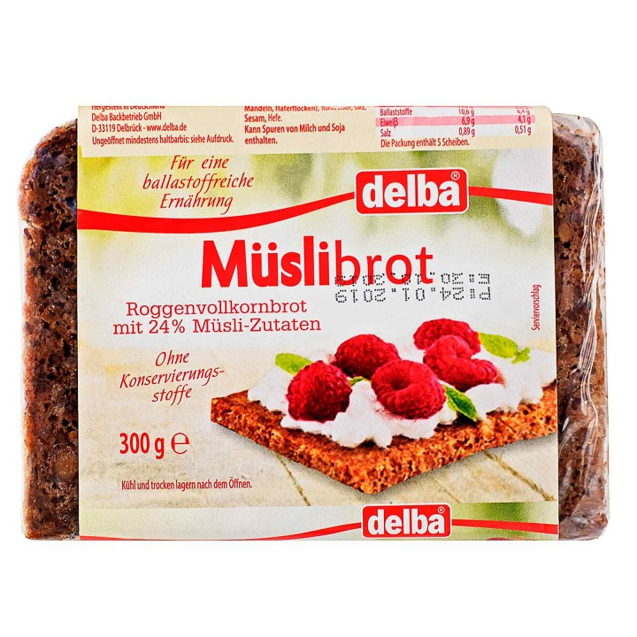 Хлеб Delba цельнозерновой с мюсли, 300 гр.