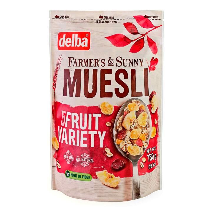 Мюсли Delba с кусочками фруктов, 750 гр.